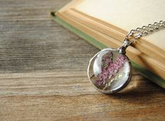 Heather necklace Heather pendant pressed flower by IskraCreations