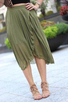 Olive Pleated Midi Skirt