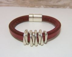 Red Licorice Leather Bracelet - Antiqued Silver Angled Spacers with a Magnetic Clasp  - Genuine Spanish Licorice Leather  www.sgtpepperscreations.etsy.com #handmadejewelry  #redlicoriceleather