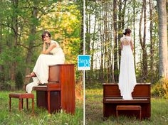 Bridal portraits with a piano --- bride with piano.  Dana Jo Photography