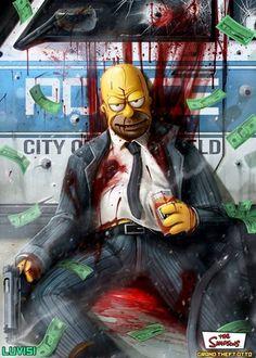 Dan Luvisi criou uma série de desenhos com personagens de desenhos como assassinos e psicopatas. Tem Os Simpsons, Hora da Aventura, Monstros S.A. e mais.