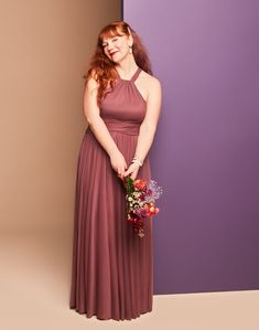 With a figure-flattering crisscross waistband and a full skirt with an extra-wide sweep (meaning: totally dance-worthy), this mesh high-neck halter bridesmaid dress is a party-pleasing pick! | #purplebridesmaiddress #bridesmaiddress | Style F19931 in Chianti | Shop this style and more at davidsbridal.com Burgundy Wedding, Red Wedding, Bridesmaid Dresses, Wedding Dresses, Davids Bridal, Mesh, Dance, Clothes For Women, Female