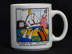 Vtg 1980 Gary Larson The Far Side Coffee Mug That Settles It Carl From Now On..