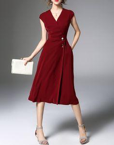 #AdoreWe #VIPme Swing Dresses - ZERACO Red V Neck Swing Wrap Dress - AdoreWe.com