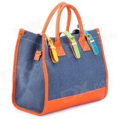 Fashion Canvas + PU One Shoulder / Hand Bag - Orange + Dark Blue