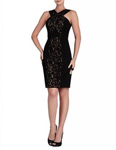 BCBGMAXAZRIA Womens Claudine Dress with Criss Cross Bodice Black Combo 2 * Click on the image for additional details.
