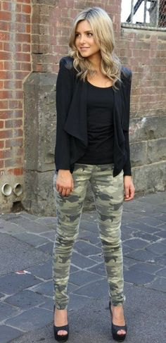 stevie camo jeans | military inspired • fashion • style • teen • black • jacket • pumps • clothes • outfit • winter • autumn • fall • cold weather • cute • clothes