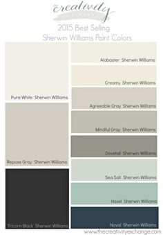 USE THIS PALETTE? 2015 Best Selling and Most Popular Sherwin Williams Paint Colors. The Creativity Exchange