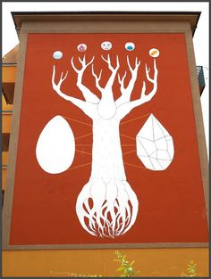 Andreco's The Philosophical Tree - a 59-foot mural in Bologna created out of photochemical paint, which reduces the amount of nitrogen monoxide and cleans the air of smog.
