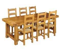 Dining table oak L220 x l90 x H76 cm with 6 chairs Euros 1319