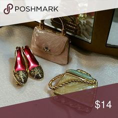 Pins 3 piece pin bundle including 2 handbags and a gorgeous shoe pin. Great for jean jacket Jewelry Brooches