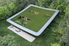 This architectural design features a majestic green roof that follows your landscape! | Yanko Design Sustainable Architecture, Architecture Design, Creative Architecture, Space Projects, Open Wall, Glass Facades, Wood Joinery, Design Language, Traditional Furniture