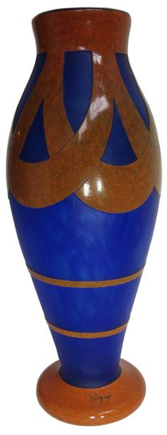 Monumental Degue Vase by Cazaux