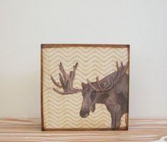 Rustic Art Block l Moose Chevron Gray l 5x5 wood block  forest woodland geometric gray redtilestudio on Etsy, $29.00