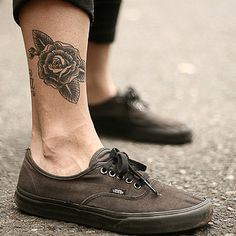 Rose leg tattoo - like the placement