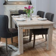English Inlay Reclaimed Wood Dining Table and Grey Chairs
