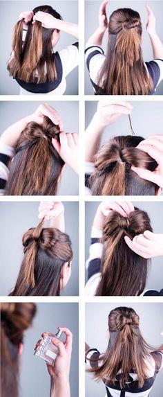 weihnachtliche frisuren haarschmuck ideen schleife aus den haaren machen diy anleitung