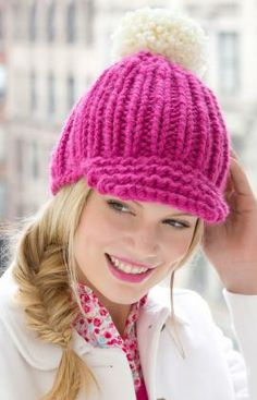 Knitted Ribbed Hat with Brim Free Pattern from Red Heart Yarns