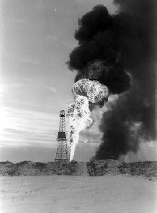 """Hunter Strikes Oil at Leduc  Feb 13, 1947 - Vern """"Dry Hole"""" Hunter struck oil near Leduc, Alta. The discovery ended a long decline in the Alberta oil industry, began an era of prosperity for the province and spared Canada dependence on foreign oil."""