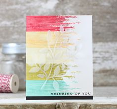 Vellum die cut over stamped BG (try with MB)  huh?