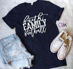 Football Shirt, Faith Family Football, Football Mom shirt, Football and Jesus, Game Day Shirt, Christian Football Shirt, Football Mama Shirt by 1OneCraftyMomma on Etsy