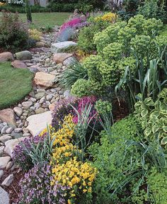 Dry Stream Does Double Duty. Fine Gardening also has a great tutorial on making a dry stream bed, but to get to the actual directions, you need to go to page 3 in their post. The first two pages has good information though, so take a peek. Design Patio, Diy Design, Garden Design, Modern Design, Landscaping With Rocks, Backyard Landscaping, Landscaping Ideas, River Rock Landscaping, Lawn And Garden