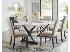Marbled Dining Table & Six Side Chairs With: Includes A Trestle Dining Table And Six (6) Tufted Side Chairs,Natural White Marble
