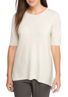 Eileen Fisher Women's Sleek Tencel Linecks Scoop Neck Top - Bone - Xs
