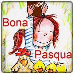 Bona Pasqua! Happy Birthday Cards, Comic Books, Comics, Words, Anime, Fictional Characters, Illustrations, School, Bonito
