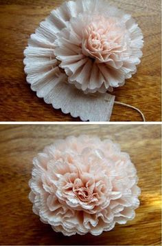 "a-ladys-findings: "" DIY: Crepe Paper Flower "" Flower Tutorials Directory - Click through to view 30 Fabulous Paper and Fabric Flowers To Make Immediately!DIY Crepe Paper Flower - lovely crafting inspiration for gift packaging & decorMaybe this on Diy Paper, Paper Crafting, Paper Art, Crepe Paper Crafts, Cardboard Crafts, Handmade Flowers, Diy Flowers, Flower Diy, Streamer Flowers"