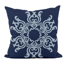 "E By Design Floral Motif Decorative Pillow | AllModern - 16"", 18"" or 20"" (Navy)"