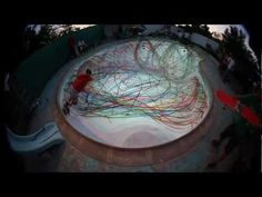 Skateboard pool painting interface/aerosol cans strapped to the board bottoms like a jet spray...brilliant testosterone/spirograph for the big boys!