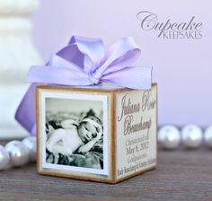 Personalized Vintage Baptism Christening Lavender Pink Photo Block Gift