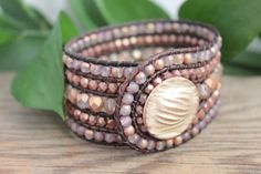 Lavender Beaded Leather Wrap Bracelet 5 Row by BearCreekCollection