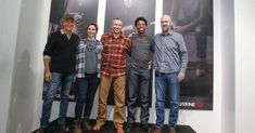 a group of people posing for the camera: Mike Rowe pictured with the three Wolverine-sponsored trade workers and Wolverine's vice president of marketing Andrew Shripka. Finding The Right Job, Mike Rowe, People Poses, Pose For The Camera, Job S, Business Women, Winter Jackets, Advice, Passion