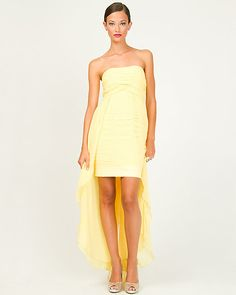 Chiffon Strapless High Low Gown  Price: $139.99 (on sale) Very similar to our BCBG favourite, but the price is a lot more interesting. I can't really see the material, but definitely worth a try.