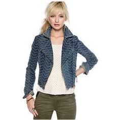 Free People Chevron Punch Denim Jacket Original & edgy denim cropped jacket w/assymetric zip front, fitted silhouette, long sleeves w/zip cuffs. Adds a sexy flare to all outfits! Raised embroidered chevron herringbone pattern, convertible notched collar. Zip pockets. All cotton. Sold out! Free People Jackets & Coats Jean Jackets