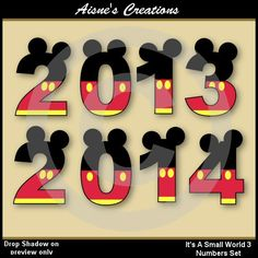 Numbers clip art set inspired by Mickey Mouse