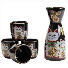 Japanese sake set Fortune Cat maneki neko by JapanBargain Japanese Sake, Cute Japanese, Japanese Culture, Diy New Years Party, Oriental Restaurant, Japanese Legends, Cute Kitchen, Anime Cat, Maneki Neko