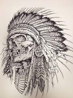 Tattoo sketches, tattoo drawings, indian tattoo design, tattoo indian, in. Tatto Skull, Indian Skull Tattoos, Skull Tattoo Design, Skull Art, Tattoo Designs, Indian Chief Tattoo, Indian Tattoo Design, Arrow Tattoo Design, Skull Design