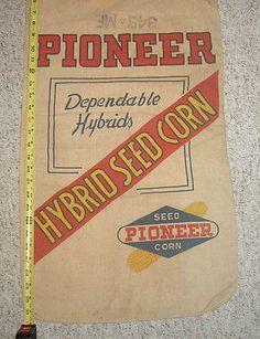 Hampton Iowa Cloth Sack Feed Bag Vintage Farm Brid Farmers Hybrid Seed Corn Co
