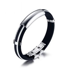 Silicone Men Bracelet Bangle Sport Rubber DIY Adjustable Rubber Stainless Steel Hand Jewelry