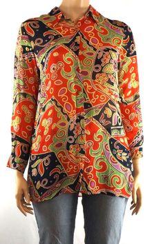 Coldwater Creek L Multi-Color Floral Semi Sheer Blouse Long Sleeve Button Front  #ColdwaterCreek #Blouse #Career