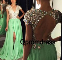 Sparkly long prom dress with slit, ball gown, 2016 green chiffon open back long evening dress for teens