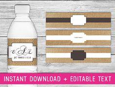 Printable Water Bottle Labels (Burlap wedding decorations, wedding bottle labels, personalized bottle labels, burlap baby shower decorations on Etsy, $4.99