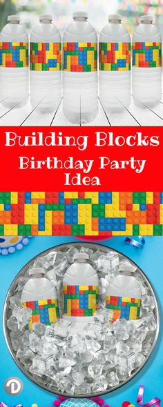 These red, blue, yellow, and green Building Blocks Party Water Bottle Labels are the perfect refreshment decorations for your upcoming: boy's birthday party & any stacking blocks themed event #legobirthday #lego #buildingblocks #birthday #kidsbirthday