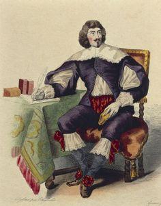 """Portrait of JeanLouis Guez de Balzac. - 6) GUEZ DE BALZAC: Richelieu le remarqua et lui fit donner la fonction d'historiographe et le brevet de conseiller du Roi en ses conseils avec une pension de 2000 livres. Paru en 1624, le premier volume de ses Lettres lui valut d'emblée les plus grands éloges. Surnommé """"le grand épistolier"""", il devint l'oracle de l'hôtel de Rambouillet, côtoyant entre autres, Chapelain, Malherbe ou Boisrobert."""