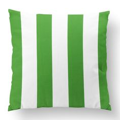 "18"" Custom Outdoor Simple Stripe Cushion  Simple Stripe Item# CC-OD0007 100% Polyester Cover 100% Polyester Fill Green Custom Outdoor Cushions, Striped Cushions, Fill, Shapes, Throw Pillows, Texture, Simple, Cover, Green"