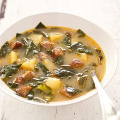 Caldo Verde (Everything about this classic Portuguese soup, from the smoky sausage to the tender potatoes and greens) America's Test Kitchen Portuguese Kale Soup, Portuguese Recipes, Portuguese Sausage, Soup Recipes, Cooking Recipes, Healthy Recipes, Whole30 Recipes, Cooking Videos, Yummy Recipes