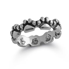 An absolute animal jewelry favorite again, our dog or cat paw print band. This pet jewelry design has detailed little paws  going all the way around this solid paw print band.  The paw print ring measures approximately 1/4 inch wide.